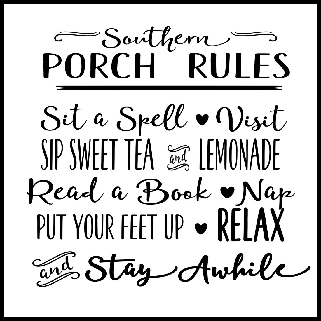 Southern Porch Rules w Border