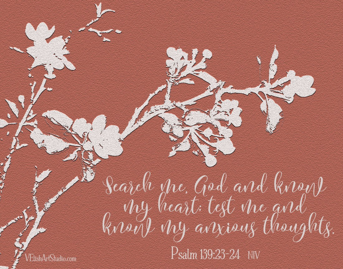 Apple Blossoms Embossed Psalms 139.23-24 11x14
