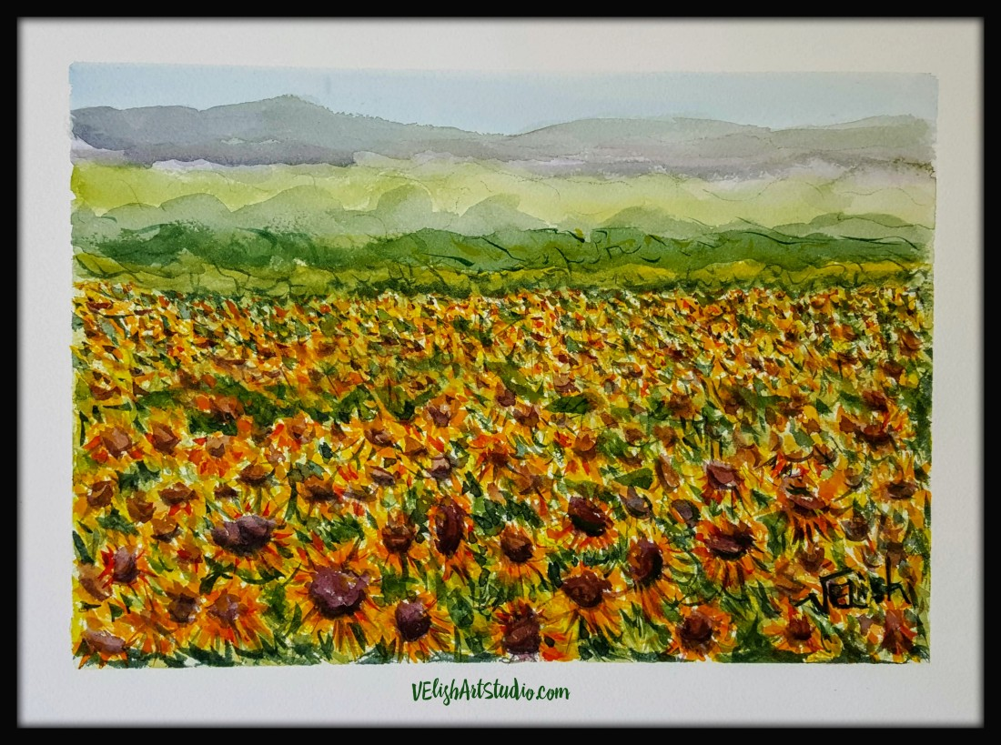 Sunflower Field 9x12 Watercolor Virtual Frame with Logo