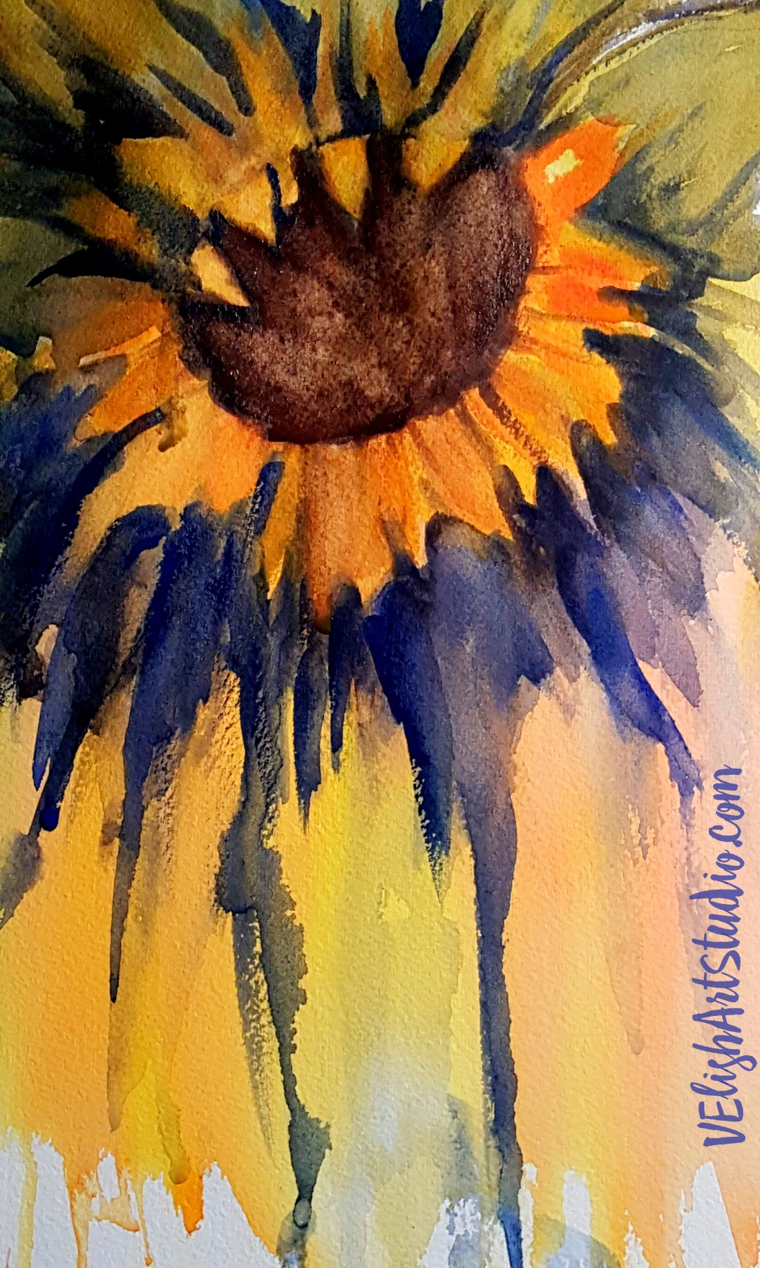 Sunflower Study 1 Wet into Wet Watercolor w logo